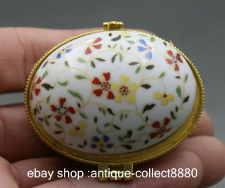 52mm Chinese Colour Porcelain Colourful Little Flower Fashion Jewelry Box photo