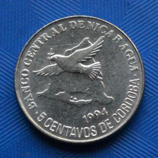 Nicaragua Coin 5 Centavos 1994 Km80.  North America.  Unc. photo