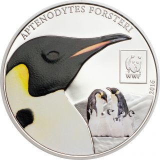 Silver Plated 2016 Tanzania 100 Shillings Wwf Emperor Penguin Ngc Pl69 Er Color photo