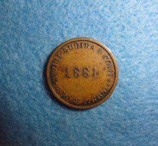 Ponce,  Puerto Rico Token - - Sauri Subira & Comp ' A,  1881 / Vale 5 Centavos photo