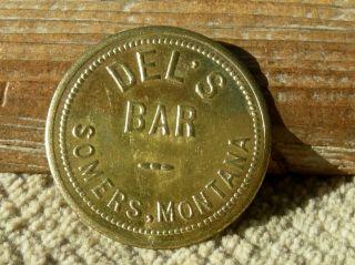 Vint Somers Montana Mt (tiny Town Flathead Lake,  Rr Tie Town) Bar Brass Token photo