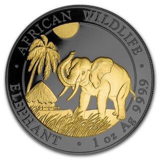 Silver Somalia Elephant 2017 Ruthenium Plated,  Gold Gilded Coin Golden Noir photo