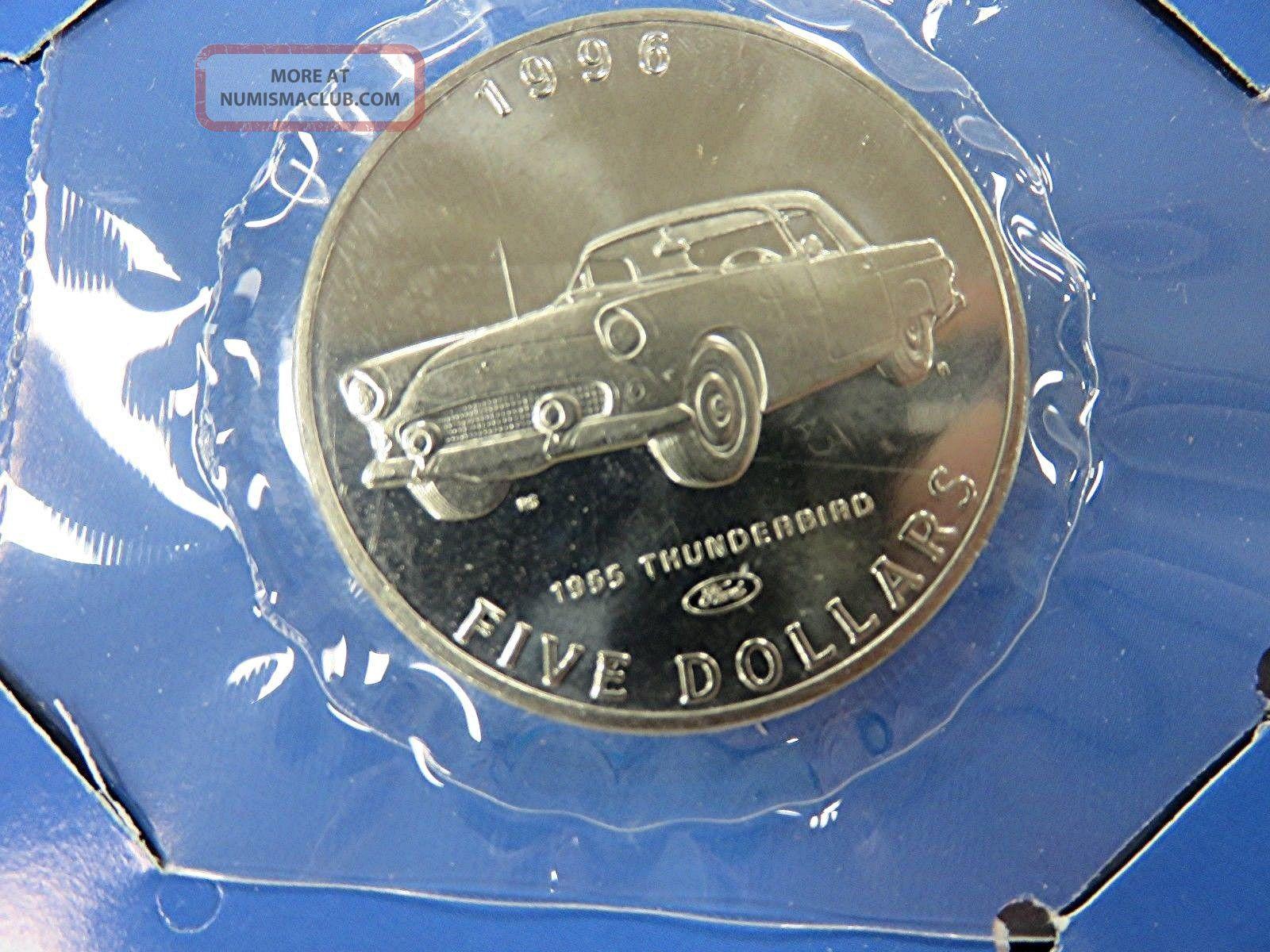 1996 Marshall Islands - 5 Dollars - 1955 Ford Thunderbird - Bu - Orig.  Pkg Coins: World photo