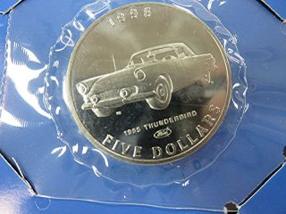 1996 Marshall Islands - 5 Dollars - 1955 Ford Thunderbird - Bu - Orig.  Pkg photo