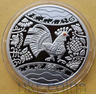 2017 Chinese Lunar Year Of The Rooster Ukraine 1/2 Oz Silver Proof Coin Gemstone photo