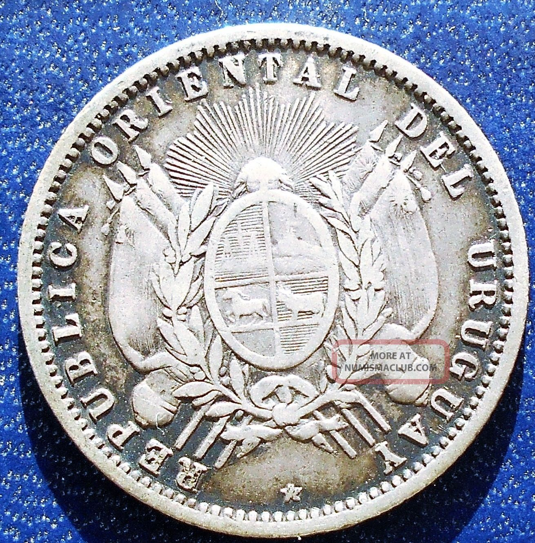 . 900 Silver 1877 Uruguay 20 Centesimos Km 15 Flagged Arms Type Paris C59 Uruguay photo