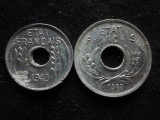 Xd057 - Vietnam Indochine - Aluminum - 1 & 5 Cent 1943s - - photo