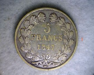 France 5 Francs 1847 Very Fine Large Silver Coin (stock 0412) photo