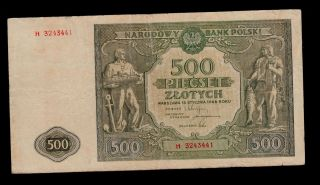 Poland 500 Zlotych 1946 H Pick 121 F - Vf Banknote. photo