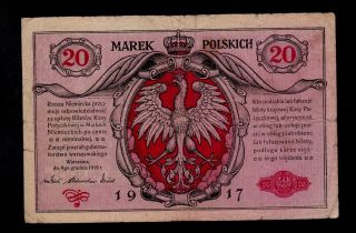 Poland 20 Marek 1917 A Pick 4a Fine Banknote. photo