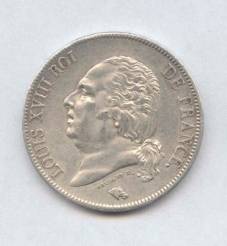 1823 - A Louis Xviii 5 Francs Silver Crown Coin - Cleaned - Details photo