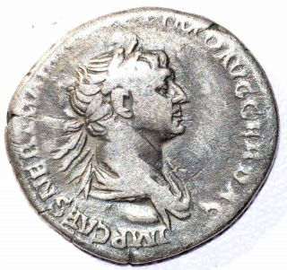 Authentic Trajan (ad 98 - 117),  Ar Silver Denarius,  Rv.  Cos Vi - C230 photo