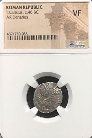 T Carisius Julius Caesars Rome 46bc Scarcer Caris Ngc Silver Triumph Denarius photo