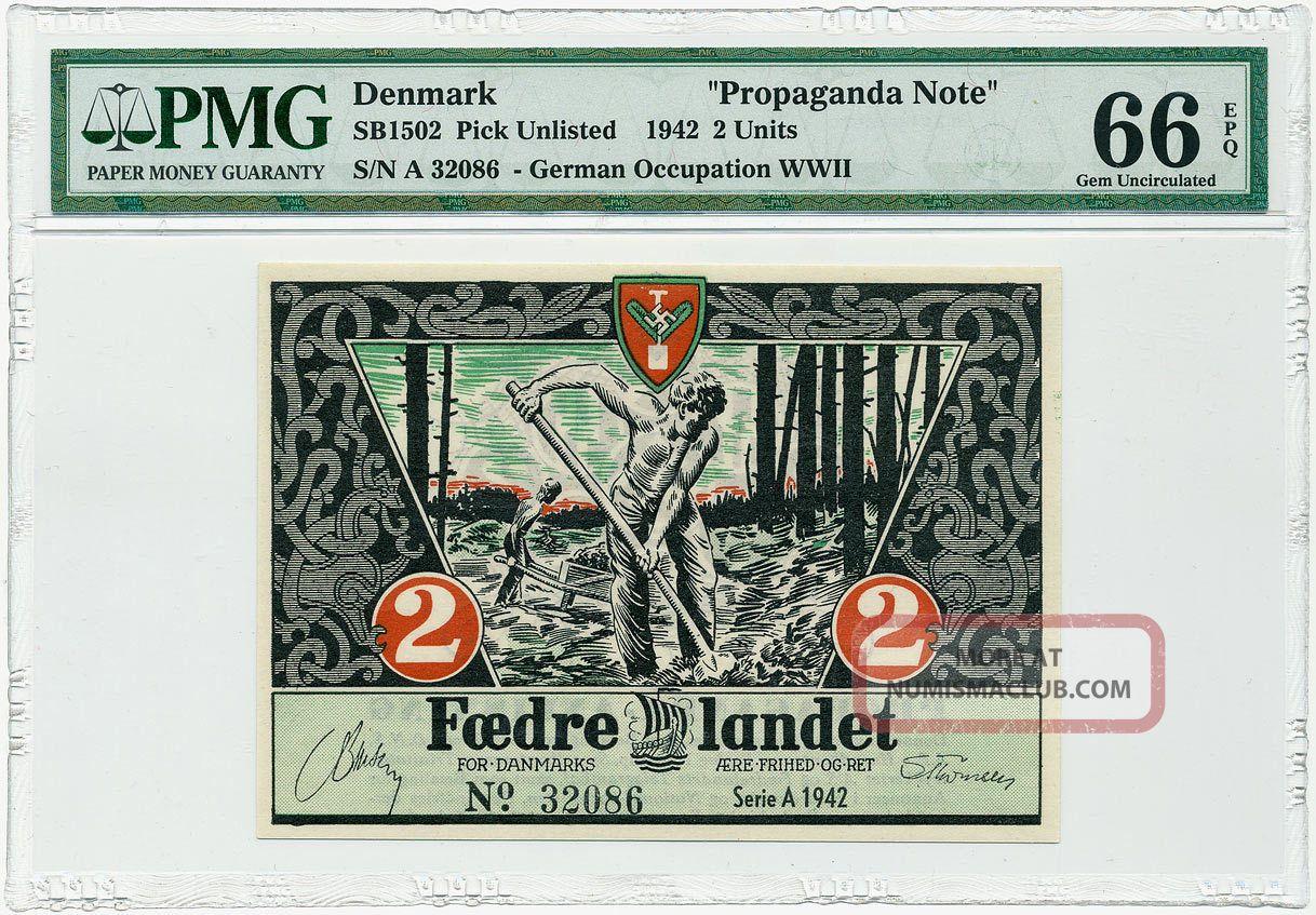 Denmark - 2 Kroner 1942 - Nazi Party Propaganda Note Pmg Gem Unc 66 Epq Europe photo