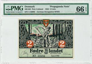 Denmark - 2 Kroner 1942 - Nazi Party Propaganda Note Pmg Gem Unc 66 Epq photo