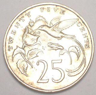 1989 Jamaica Jamaican 25 Cents Hummingbird Coin Vf, photo