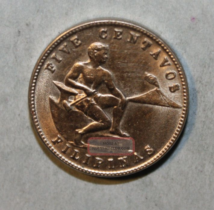 Philippines 5 Centavos 1944 Uncirculated Coin - Male Seating Near Hammer & Anvil U.S. (1898-1946) photo