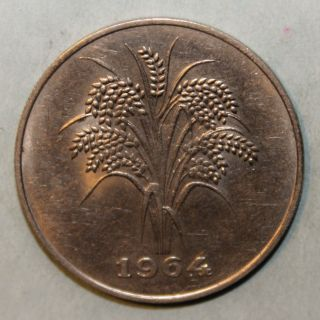 South Vietnam 10 Dong 1964 Almost Uncirculated Coin - Rice Stalks photo