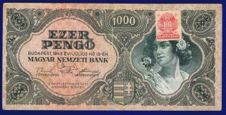 Hungary 1000 Pengo 1945 P118 Very Fine 039110 photo
