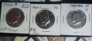 (3) Three Coin Spotless Bu 1968 S 1969 S 1970 S Kennedy Half Dollar Proof photo