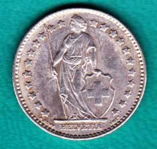 1963 - B Silver Au Switzerland 1 Franc Silver photo