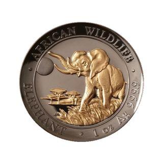 2016 1oz Golden Enigma Somalia Elephant High Relief Silver Coin 24k & Ruthenium photo
