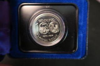 1974 Canadian Winnipeg Bu Centennial Dollar Coin With Case - photo
