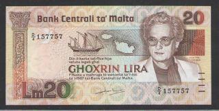 Malta 20 Liri L.  1967 (1986) P 40 Uncirculated photo