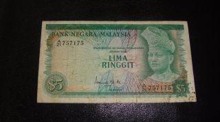 Malaysia 5 Ringgit 1967 1972 Signature Rare F //7175 photo