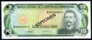 Dominican Republic 10 Pesos Oro 1981 P - 119s1 Unc Specimen Uncirculated Banknote photo