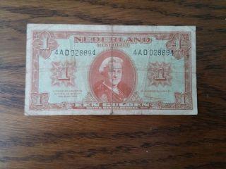 1945 Netherlands Paper Money - One Gulden Banknote photo