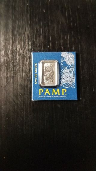 1 Gram Pamp Swiss 999.  5 Platinum Bar.  Certified,  Serial Numbered. photo