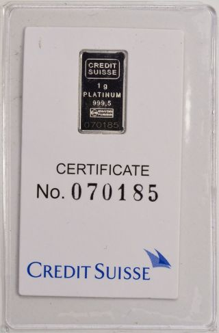 Credit Suisse 1 Gram Platinum Bar W/coa photo