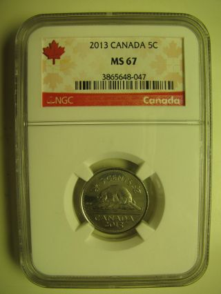 2013 Ngc Ms67 5 Cents Canada Five Nickel photo