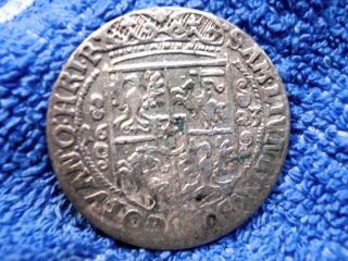 Poland: Silver Ort (1/4 Thaler) 1623 Hand Hammered Coin Very Fine photo