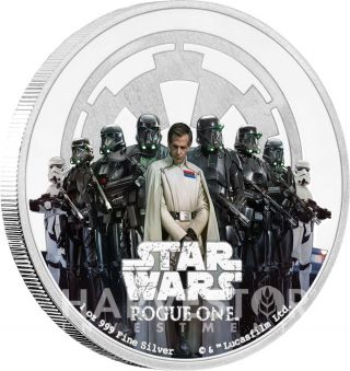 2017 Star Wars Rogue One - The Empire - 1 Oz.  Silver Coin - All Ogp & photo