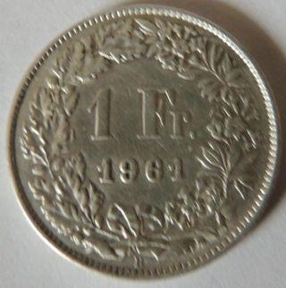 Switzerland 1961 - B Silver 1 Franc Vf,  Km - 24 photo