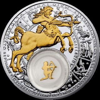Belarus,  Sagittarius.  2013,  20 Rubles,  Silver,  Plated With Gold photo