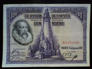 Spain - 100 Pesetas 1928,  Circulated photo