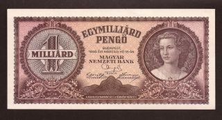Hungary 1 Milliard Pengo 1946 - Pick 125 - Unc Banknote photo