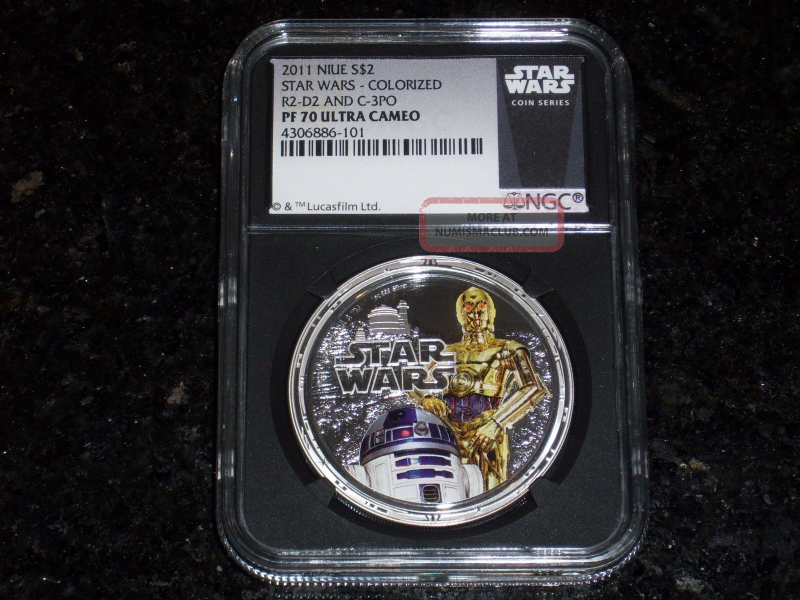 2011 $2 Niue Star Wars 1 Oz.  Silver R2 - D2 & C - 3po Ngc Pf70 Ultra Cameo - Blk Core Commemorative photo