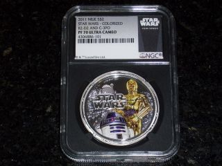 2011 $2 Niue Star Wars 1 Oz.  Silver R2 - D2 & C - 3po Ngc Pf70 Ultra Cameo - Blk Core photo
