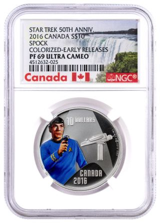 2016 Canada $10 1/2 Oz.  Colorized Silver Star Trek Spock Ngc Pf69 Uc Er Sku43743 photo