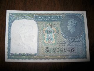 Old 1940 One Rupee Gov.  India Bank Note Foreign Paper Currency Unc George photo