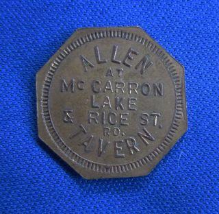 Vintage Octagon Trade Token Allen Tavern Mccarron Lake Minnesota 5 Cents photo