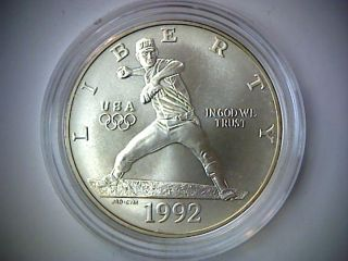 1992 - D Olympic Uncirculated Silver Dollar Coin,  In Airtite,  Baseball Pitcher, photo