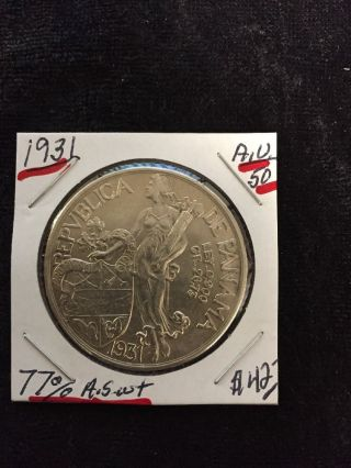 1931 Panama Silver Vn Balboa.  900 Ley 77 Aswt photo