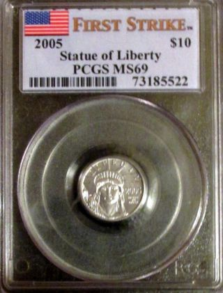 2005 $10 1/10 Oz Platinum American Eagle Ms - 69 Pcgs (first Strike) photo