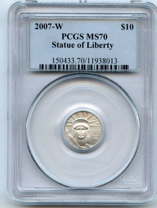 2007 - W 1/10 Ounce $10 Platinum Eagle Pcgs Ms 70 And Bright photo