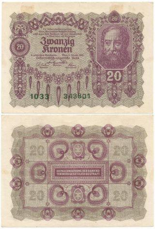 1922 Republic Of Austria Zwanzig Or 20 Kronen Note Post World War I Kronen Issue photo